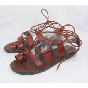 Mossimo Supply Co. Leather Lace Up Flat Sandals